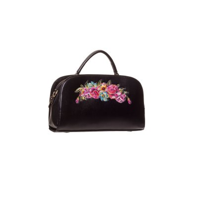 BN-Bag-blk/pnk-Vintage Flowers