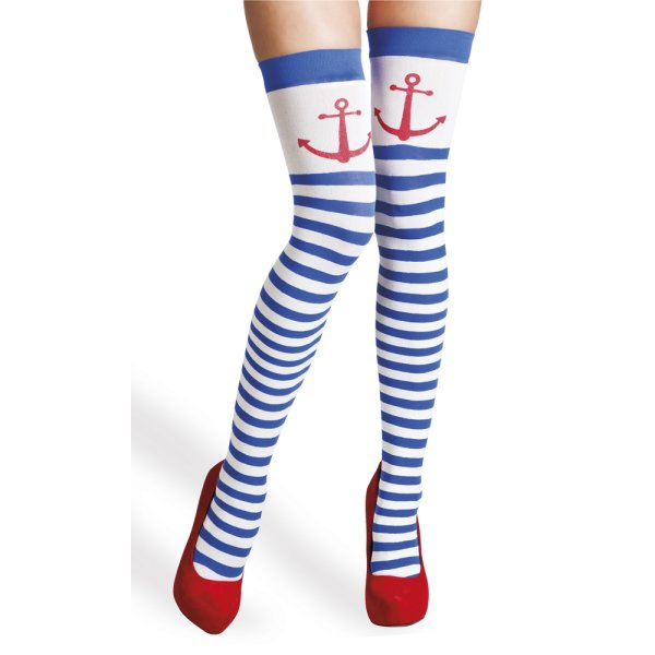 BO-STOCKINGS-O/S-WHT/BLUE-NAVY
