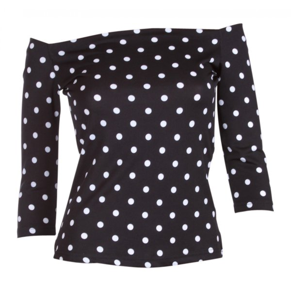 Dolly and Dotty Gloria Bardot Top Schwarz Weiss