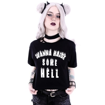Restyle Wanna Raise Some Hell Crop Top
