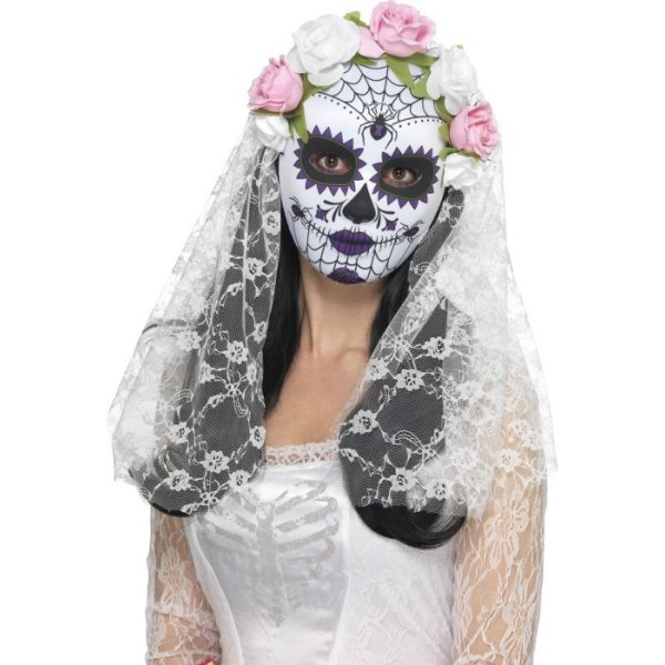 SM-MASKE-BLK/WHT-DAY OF THE DEAD PRIDE FULL FACE