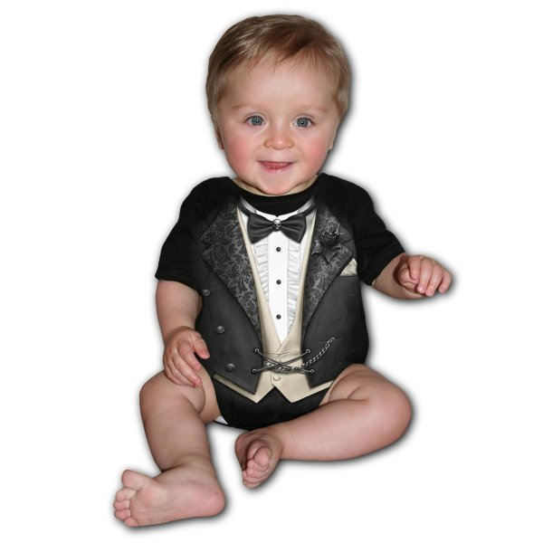 Spiral Tuxed Baby-Strampler