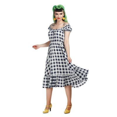 Kleid  Serrina Gingham Swing blau/weiß Karo