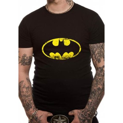 Batman Shirt  Distressed Logo schwarz