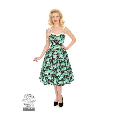 Tropical Swing Dress weiß/grün
