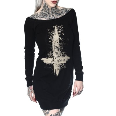 Shirtkleid Black Cross  schwarz