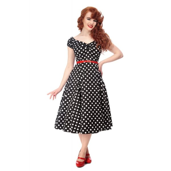 Dolores Doll Dress Polka Dots  schwarz weiß