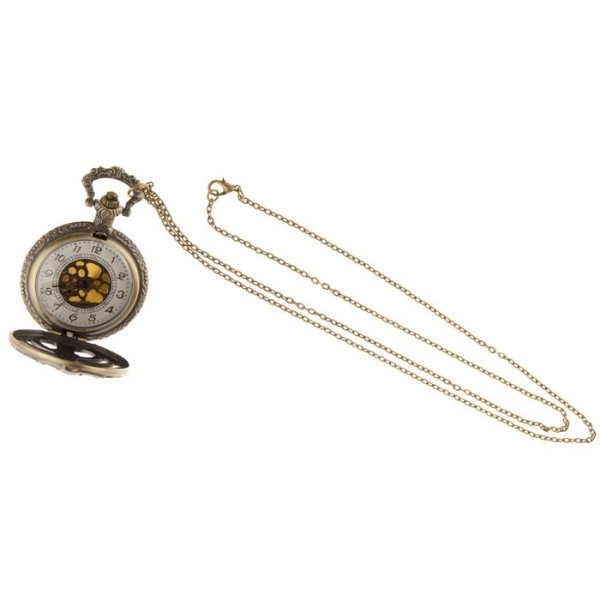 Steampunk Skelett-Taschenuhr messing