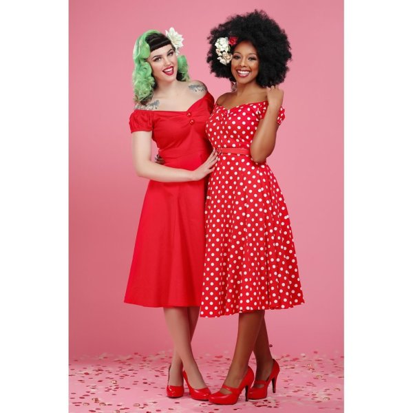 Dolores Doll Dress Polka Dots  rot weiß