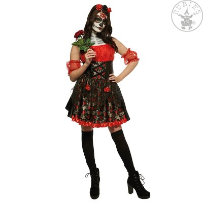Rubies Kostüm Red Rose day of the dead schwarz rot