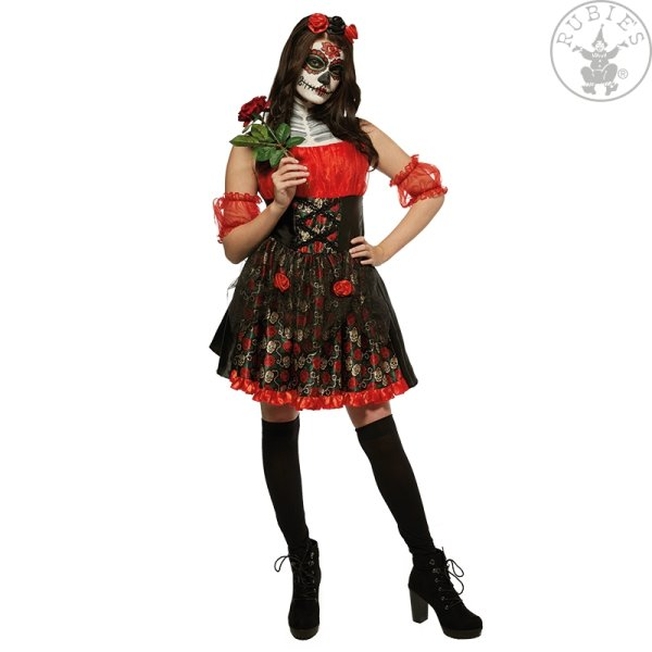 Rubies Kostüm Red Rose day of the dead schwarz rot L