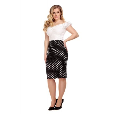 Collectif Schwarz POLLY POLKA DOT PENCIL SKIRT