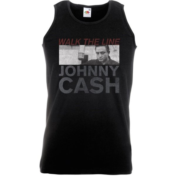Johnny Cash Tank Top Studio Shot Schwarz