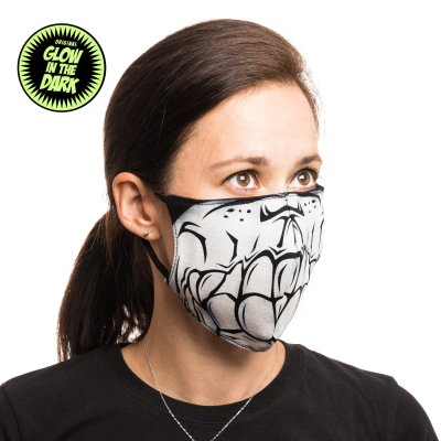 Mund-Nasen-Maske Skull Skelett Glow in the Dark