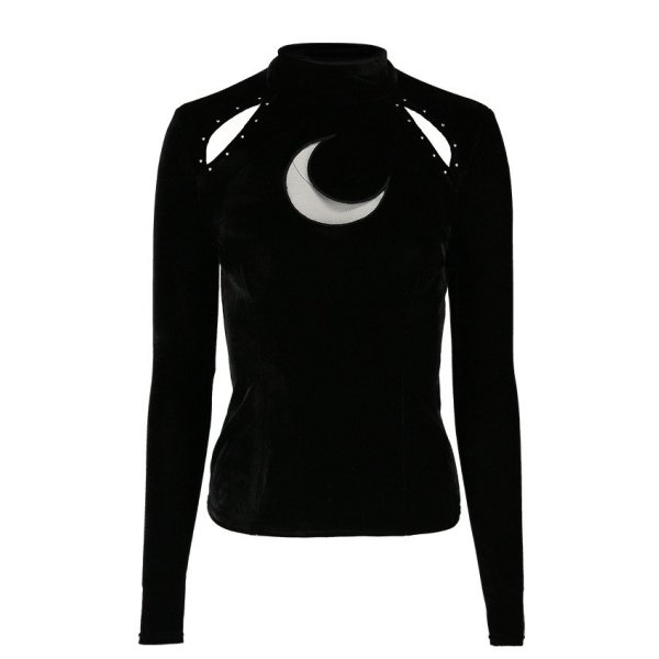 Restyle Samt Longtop Over the Moon Schwarz