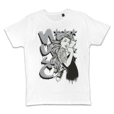 Metal Tatto NYC Pin Up T-Shirt Weiss
