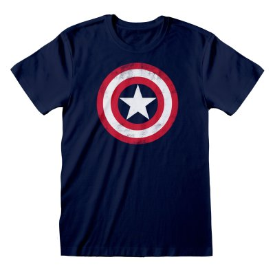 Captain America T-Shirt Shield Distressed Navy